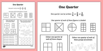 Fractions Quarter Worksheet / Activity Sheet - numeracy, place value, maths, math, worksheet, Fraction, quarter, whole, group