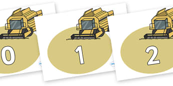 Numbers 0-31 on Combine Harvesters - 0-31, foundation stage numeracy, Number recognition, Number flashcards, counting, number frieze, Display numbers, number posters
