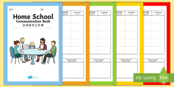 Home School Communication Booklet English/Mandarin Chinese - Home School Communication Book Primary - home school, communication, book, primary, EAL