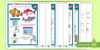 KS1 How to Look After a Fish Differentiated Reading Comprehension Activity - Pets, pet, EYFS, KS1, take, care, look, after, family, member, members, vet, vet surgery, surgery, i