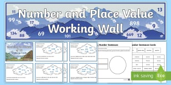 UKS2 Number and Place Value Working Wall Display Pack - Rounding, Powers Of 10, Negative Numbers, Problem Solving,Maths Mastery, Roman Numerals, Recognising