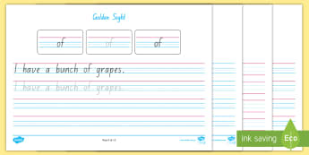Golden Sight Word Handwriting Activity Mat - Magic 100 Words, M100W, sight words, tricky words, high frequency words, HFW, phonics, reception, ki
