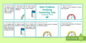 Solve Problems Involving Converting Time Challenge Cards - days, weeks, time, seconds, minutes, problem solving, word problems, measurement problems