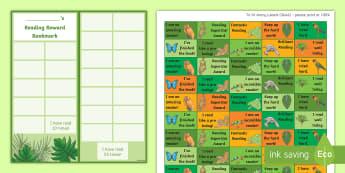 KS2 Rainforest Themed Reading Sticker Reward Charts - Y4, LKS2, Home Readers, Reading Log, Stickers, Motivation