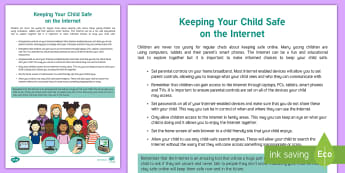 EYFS Safer Internet Day - Keeping Your Child Safe on the Internet Parent and Carer Information Sheet - Online safety, internet safety, EYFS Safer Internet Day (6th February 2018),  cyberbullying, e-safet
