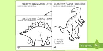 Colorear con números: Dinosaurios - Dinosaurios, pre-historia, dinos, tyranosaurio, estegosaurio, triceratops, proyectos, aprendizaje ba - Dinosaurios, pre-historia, dinos, tyranosaurio, estegosaurio, triceratops, proyectos, aprendizaje ba