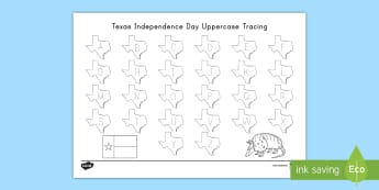 Texas Independence Day Uppercase Letter Tracing Activity Sheet - state of texas, Texas Flag, Alphabet, worksheet, letter formation, writing, fine motor skills