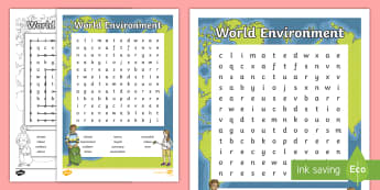 World Environment Word Search - CfE Literacy, reading, skim, scan, keywords, topic words, place, environment, World Environment Day,