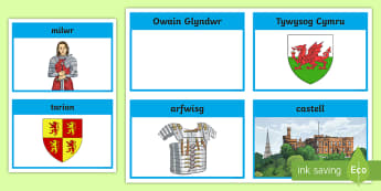 Owain Glyndŵr Cardiau Fflach - milwr, tywysog, prince, soldier, Cymru, Wales, castell, castle,Welsh