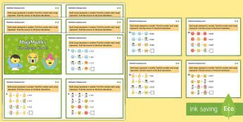 UKS2 MojiMaths 3 Decimal Number Addition Differentiated Challenge Cards - Mathemoji, Solvemoji, Emoticon, Emoji, Algebra, moji
