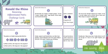 Year 2 Ronald the Rhino Reasoning Differentiated Maths Challenge Cards - twinkl originals, fiction, Reason, Solve, Discuss, Explain, Find, y2, ks1