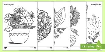 Le piante e i fiori Fogli da colorare - natura, piante, naturale, scienze, lezione, italiano, italian, materiale, scolastico