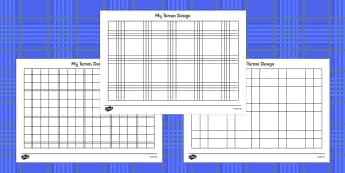 Design Your Own Tartan Colouring Sheets - templates, pattern, design, Burns, Burn's, night, Scotland, colouring, fine motor skills, poster, worksheet, scottish