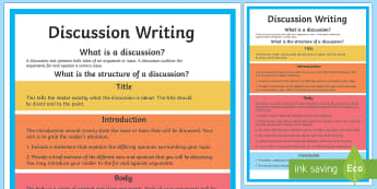Year 5 Discussion Writing Structure A4 Display Poster-Australia