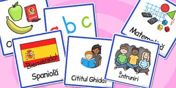 Orarul școlar în imagini - Cartonașe - orar școlar, imagini, cartonașe, orar, vizual, discipline, materiale, materiale didactice, română, romana, material, material didactic