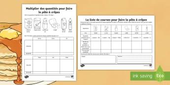 Feuille de problèmes mathématiques : La pâte à crêpes - La Chandeleur ,French, Feuille, problèmes, mathématiques, crêpes