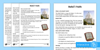 Baha'i Faith Differentiated Comprehension Go Respond Activity Sheets - KS1 differentiated reading comprehension, Baha'i religion, faith, year 1, year 2, independent readi