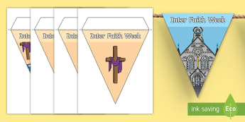 Inter Faith Week Display Bunting - community, religion, KS1, KS2, EYFS