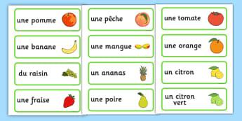 Fruit Word Cards French - french, fruit, word cards, flash cards, cards, francais, apple, banana, France