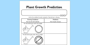 Plant Growth Prediction Worksheet - plants, living things, plant growth worksheet, plant growth prediction worksheet, predicting why plants grow, science