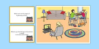 At Home Scene and Question Cards Polish Translation - polish, at home, questions, comprehension pack