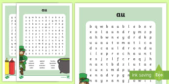 'au' Digraph Differentiated Word Search - vowel diagraph, reading, first class, second class, 1st class, 2nd class, jolly phonics, jolly gramm