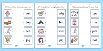 CVC Word and Picture Matching Mixed Worksheets - CVC Words With Pictures