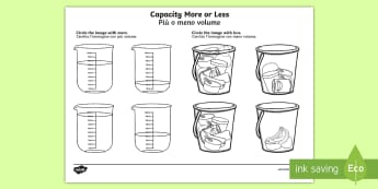 Capacity More or Less Worksheet / Activity Sheet English/Italian - Capacity Matching Cards EYFS - capacity, maths, numeracy, matching cards, match, cards, eyfs, capact