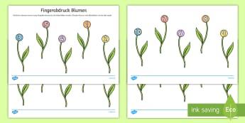Fingerabdruck Blumen Paper Craft - Frühling, Jahreszeiten, KIndergarten und Vorschule, Kunsterziehung, Basteln, Malen, Blumen, zählen