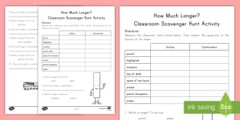 How Much Longer? Scavenger Hunt - length, measurement, inches, centimeters, Ruler