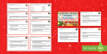 Year 4 Christmas Mental Maths Challenge Cards English/Portuguese - Year 4, year 4 maths, mental maths challenges, mental maths, Christmas mental maths, eal