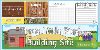 Three Little Pigs Building Site Role-Play Pack - Three Little Pigs, building, house, role play, pack, play, building site, bricks, materials, straw,