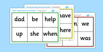 Mixed Phase High Frequency Word Bingo - Word Bingo, Letters and Sounds, DfES, High Frequency Words, Phase 1, Phase 2, Phase 3, Phase 5, Foundation bingo, DfES Letters and Sounds