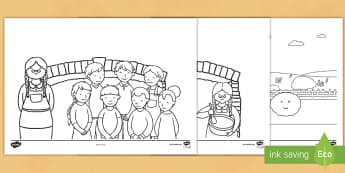 The Runaway Pancake Story Colouring Pages  -  pancake day, shrove tuesday, story, small world, the big pancake, the enormous pancake, character