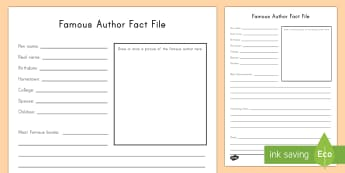 Famous Author Fact File Worksheet / Activity Sheet - World Book Day, Famous Authors, Children's Books, Picture Books, Research
