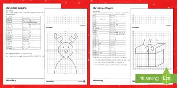 Christmas Graphs Differentiated Activity Sheets - Graph, Gradient, Sketch, Plot, Christmas, Algebra, KS4, KS3