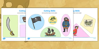 Pirate Themed Cutting Skills Worksheets - cut, fine motor skills