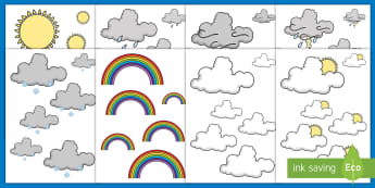 Weather-Themed Size Ordering - Maths, Shape, Space and Measure, Sun, Rain, Rainbow, Snow