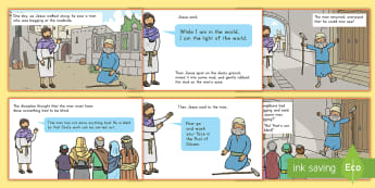 Jesus Heals a Blind Man Story Sequencing Cards - Miracle, New Testament, Heal, Blind, Bible, Story, John, John 9:1-12, healing, gospels,