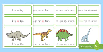 Dinosaur Simple Sentence Cards - Dinosaurs, pre-kindergarten, dolch word list, dolch, sight words, tracking dots, reading, pre-k, usa