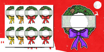Christmas Editable Self-Registration Wreath - self registration, self-registration, editable, editable labels, wreath, editable wreath, display wreath, editable self registration labels, labels, registration, child name label, name label, register
