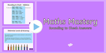 Year 5, Addition and Subtraction, Rounding to Check Maths Mastery Activities PowerPoint PowerPoint