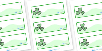 Three Leaf Clover Drawer Peg Name Labels - clovers, clover leaves, three leaf clover, Wren Label Templates, Resource Labels, Name Labels, Editable Labels, Drawer Labels, Coat Peg Labels, Peg Label, KS1 Labels, Foundation Labels, Foundation Stage Labe
