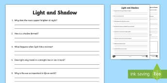 Light and Shadows Questions Worksheet - light and shadow, light and dark, light and shadow worksheet, light and shadow questions, light and dark worksheet