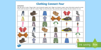 Clothing Connect Four Game-Scottish-translation - French Games, french connect four, french pair games, french clothing.