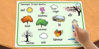 Swedish Seasons Word Mat - swedish, seasons, word mat, word, mat