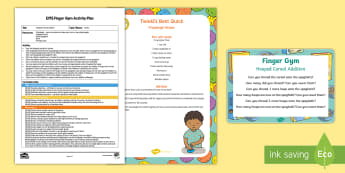 EYFS Hooped Cereal Addition Finger Gym Plan and Prompt Card Pack - funk fingers, adding, add, plus, cheerios, threading, fine motor
