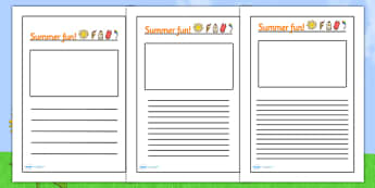 Summer Fun Writing Frames - summer writing frames, summer fun, writing frames, summer fun writing frames, summer time writing frames