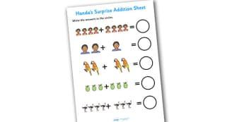 Handas Surprise Addition Sheet - Handas surprise, addition sheet, handas surprise addition sheet, addition, handas surprise worksheet