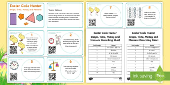 Easter Maths Shape, Space and Measure Code Hunter - Key Stage One, KS1, Key Stage 1, Year 1, Year 2, Year One, Year Two, Maths, Mathematics, Shape, Spac